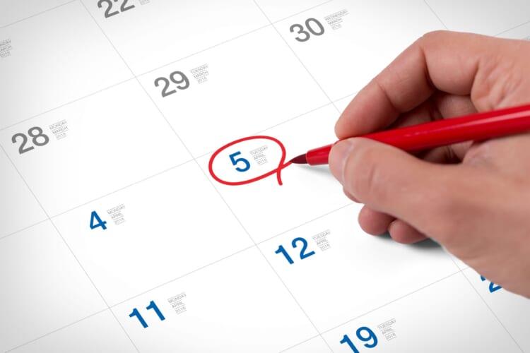 5日カレンダー